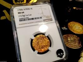 """PERU 4 ESCUDOS 1750 """"LA LUZ SHIPWRECK"""" NGC 64 FINEST KNOWN! GOLD DOUBLOO... - $13,750.00"""