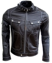 Men Black Genuine Real Leather Jacket Snap Button Closure Pocket White Stitching - $179.99