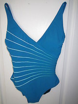 Gottex 12RL158 Ray of Light V-Neck Tank 1PC Swimsuit Cadeblue 10  MSRP $118 - $46.16