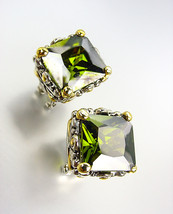 CHUNKY Designer Silver Gold Balinese Filigree Olive Green CZ Crystal Ear... - $27.99