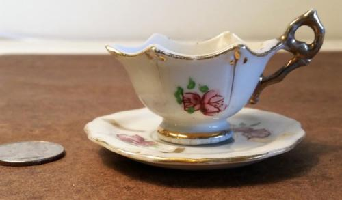 Vintage Occupied Japan Mini Tea Cup & Saucer Roses Gold Trim Scalloped Edges