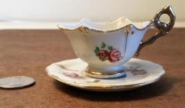 Vintage Occupied Japan Mini Tea Cup & Saucer Roses Gold Trim Scalloped Edges