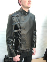 Leather Skin Men Black Military Genuine Real Leather Jacket with Straps Closure - $179.99