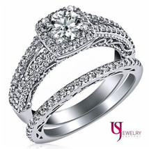 1 1/4 Carat F-SI1 Round Diamond Halo Engagement Matching Bands Wedding Set 14k - $2,632.41