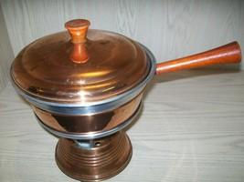 Copper Casserole Warmer Serving Set Wood Handle 5 Piece - $17.95
