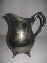 Silver Plate Oneida Water Beverage Pitcher With Ice Lip Flower Designs 4... - $15.99