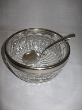 Silver Plate Rim Crystal Clear Glass Bowl With Silver Plate Spoon Candy... - $9.95