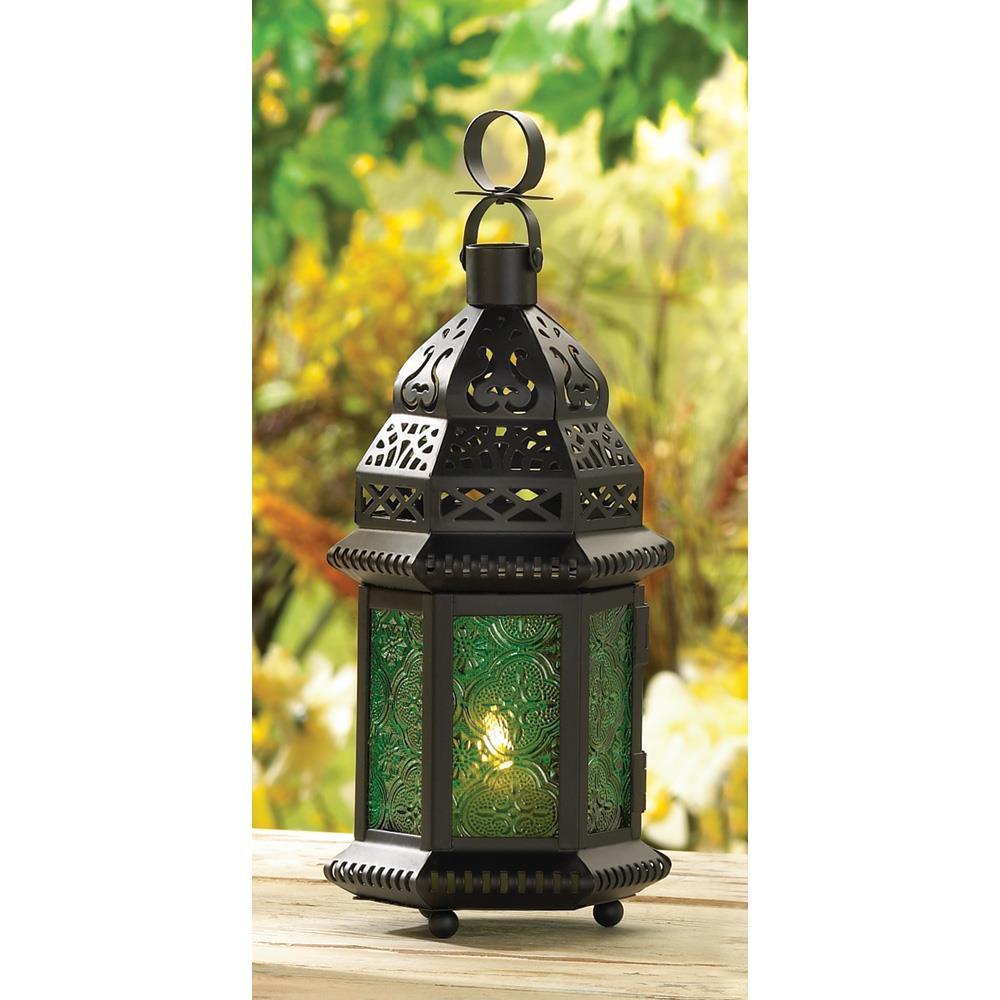 Candle Lantern - Moroccan - Green Glass