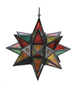 Candle Lantern - Hanging Star - Moroccan - Multi-Color - $27.95