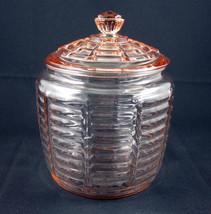 Anchor Hocking Pink Cracker Jar Lid Paneled Rib... - $29.99