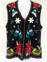 Ugly Christmas Sweater Vest Medium Black Bobbie Brooks Gold Bead Sequins... - $29.99