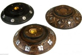 Antique effect round wooden, cone and incense stick burner. - $7.07