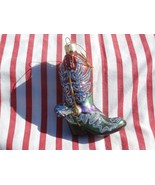 Glass Western Cowboy Boot Christmas Tree Ornament, Red Green and Glitter - $12.86