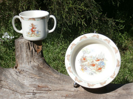 Royal Doulton Bunnykins Two Handle Mug and Rimmed Bowl, Cricket Match, P... - $29.69