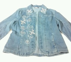 Lady noiz sz L stretch cotton denim blue jean jacket lightweight bling b... - $34.77
