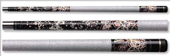 New Athena ATH18 Pool Cue Stick - Pink w/White Butterflies 17-21 oz & Case