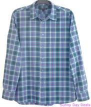John Varvatos Shirt L Cotton Plaid Button Front W184Q1B Long Sleeve Blue... - $27.67