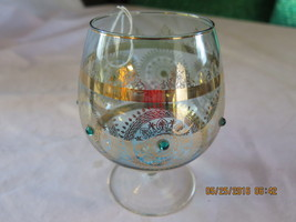 Light Blue Brandy Glass with Turquoise Stones - $40.00