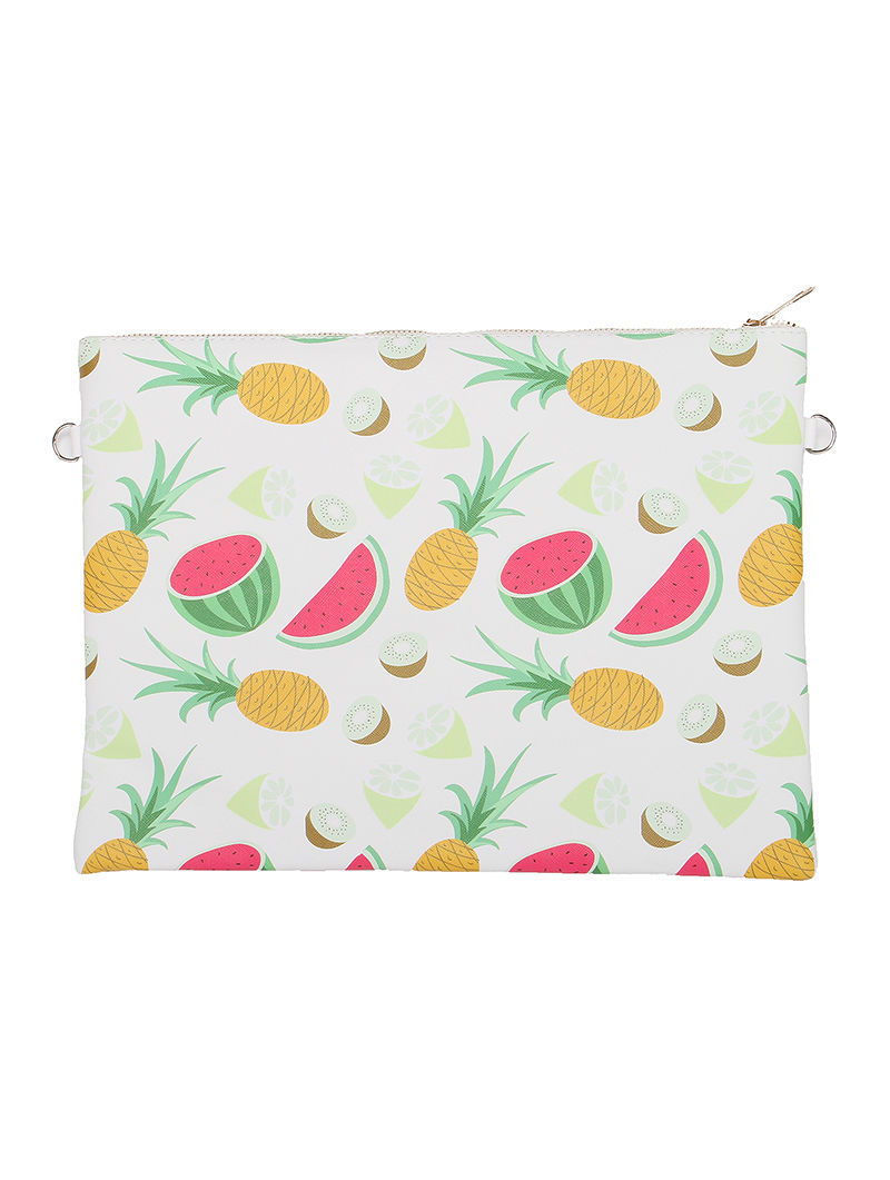 Large Vinyl Envelope Clutch Purse Bag w/ Removable Shoulder Strap Fruit Print