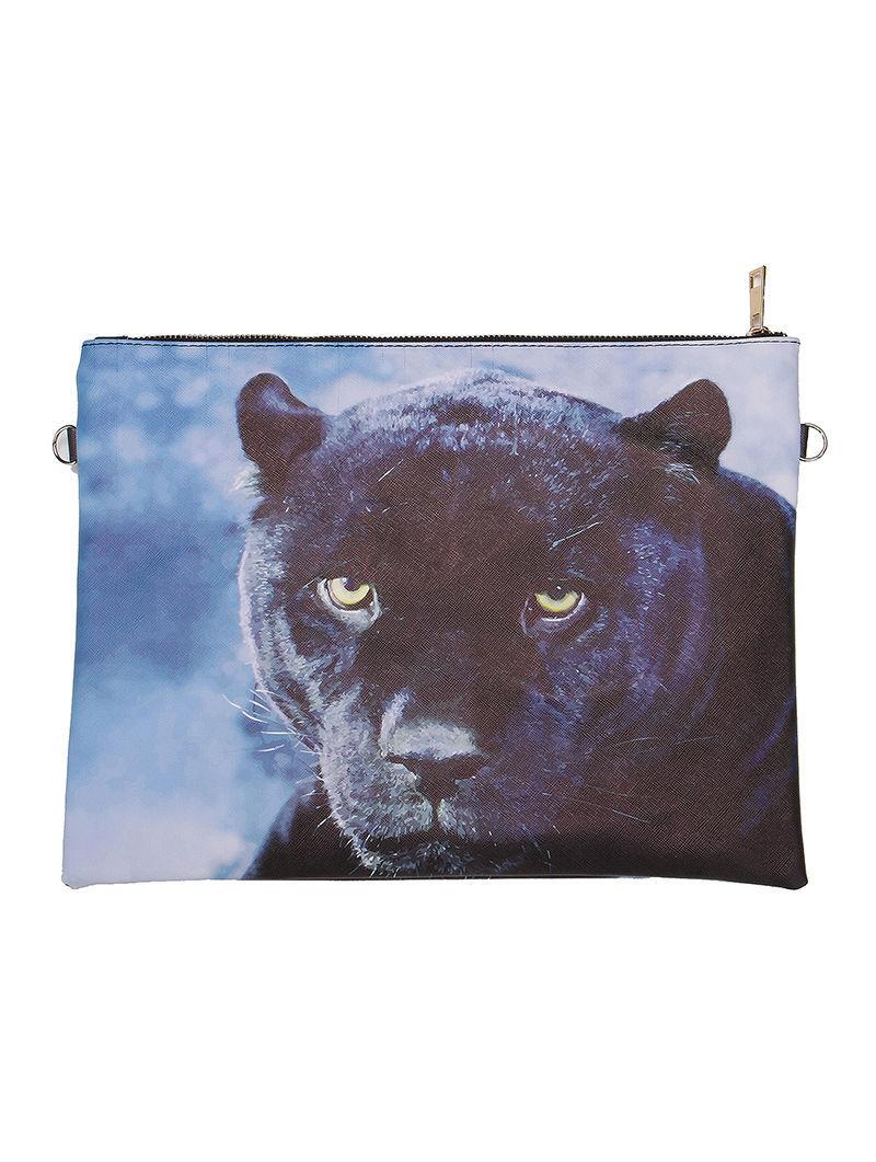 Large Vinyl Envelope Clutch Purse Bag w/ Removable Shoulder Strap Puma Print
