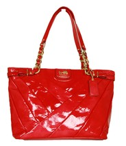 Coach Madison Diagonal Pleated Patent Leatehr Tote In Punch 21300 - $420.75