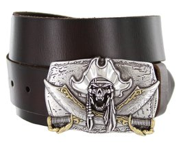 Pirate Jolly Roger Buckle Casual Jean Leather Belt for Men (Brown, 34) - $29.65