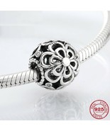 Hollow flower 925 Authentic Silver Crystal Original Pandora Charm Bracelet - $9.95