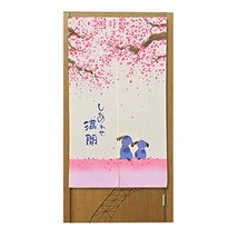 PANDA SUPERSTORE Japanese Style Sakura Privacy Hanging Half Curtain Valance for