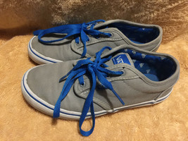 Used/worn Vans Off the Wall Unisex youth size 3.5 skateboard shoes grey ... - $19.79