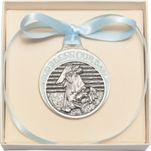 Crib Medal - Pewter Baby in Manger with Blue Ribbon - $39.99