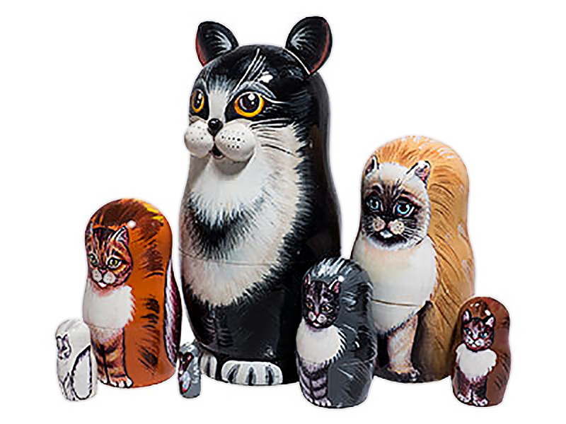 """Black and White Cat Nesting Doll - 7"""" w/ 7 Pieces"""