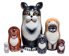 "Black and White Cat Nesting Doll - 7"" w/ 7 Pieces - $56.00"