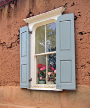 Blue Shutters on Adobe, Southwest Art, 5 x 7 Matted Photograph, Altered ... - $20.00