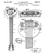 Vintage 1937 Rickenbacker Frying Pan Lap Steel Guitar Patent Print 8 x 10 - $4.95