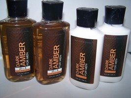 4 Pc Bath & Body Works Dark Amber for Men 2 in 1 Hair & Body Wash & Body Lotion  - $31.50