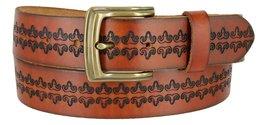 Mens Vintage Genuine Leather Casual Jean Belt Strap with Brass Buckle (BRS BK... - $24.70
