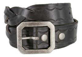 Western Engraved Buckle Full Grain Woven Braided Leather Belt for Men (Black,... - $24.70