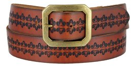 Mens Vintage Genuine Leather Casual Jean Belt Strap with Brass Buckle(Tan,32) - $24.70