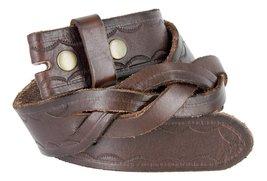 Mens Genuine Full Grain Leather Woven Braid Tooled Belt Strap(Brown,44) - $18.76