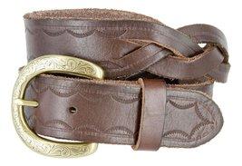 Western Engraved Buckle Full Grain Woven Braided Leather Belt for Men (Brown,... - $24.70