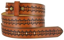 BS042 Mens Vintage Tooled Full Grain Genuine Cowhide Leather Casual Jean Belt... - $19.75
