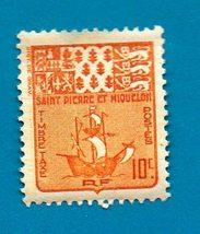 St. Pierre et Miquelon (mint postage due stamp) 1947 Coat of Arms & Ship... - $1.99
