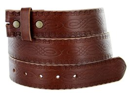 "BS085 Full Grain Tooled Leather Belt Strap 1.5"" Brown 32 - $15.83"