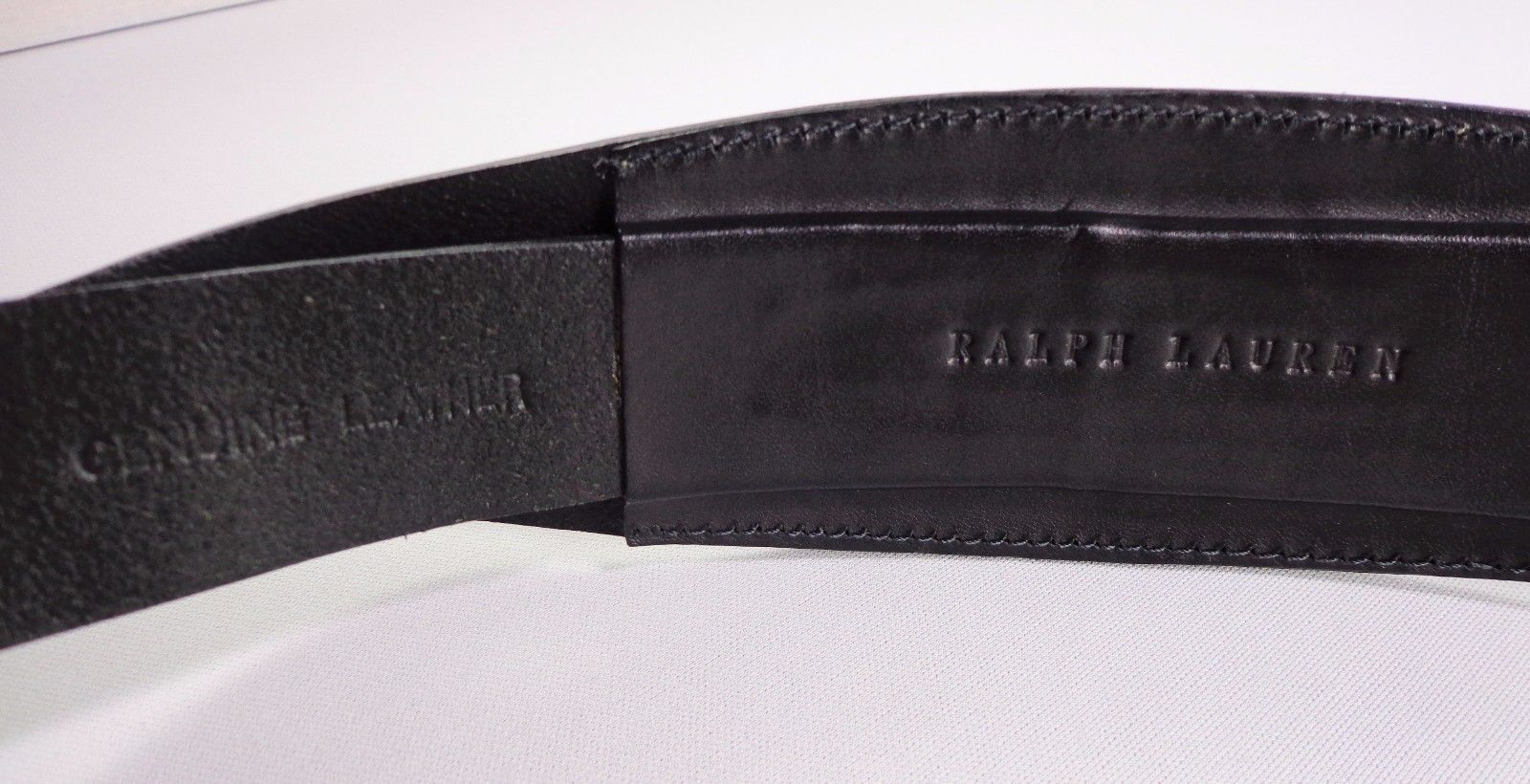 Ralph Lauren Womens Black Leather Belt Wide Size M Medium Made in Argentina