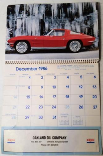 1986 Exxon Collector Car Calendar Oakland Oil Oakland Maryland Md Garrett County