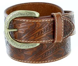 "BS118-P3984 Western Floral Engraved Tooled Leather Belt 1.5"" Tan 40 - $28.69"