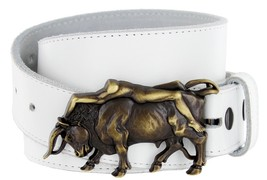 Antique Brass Naked Lady Bull Rider Genuine Leather Belt for Men (White, 38) - $29.69