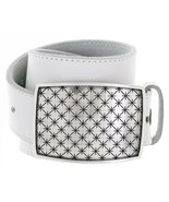 Cross Quilted Star English Silver Buckle Leather Belt for Women (White, 32) - $29.69