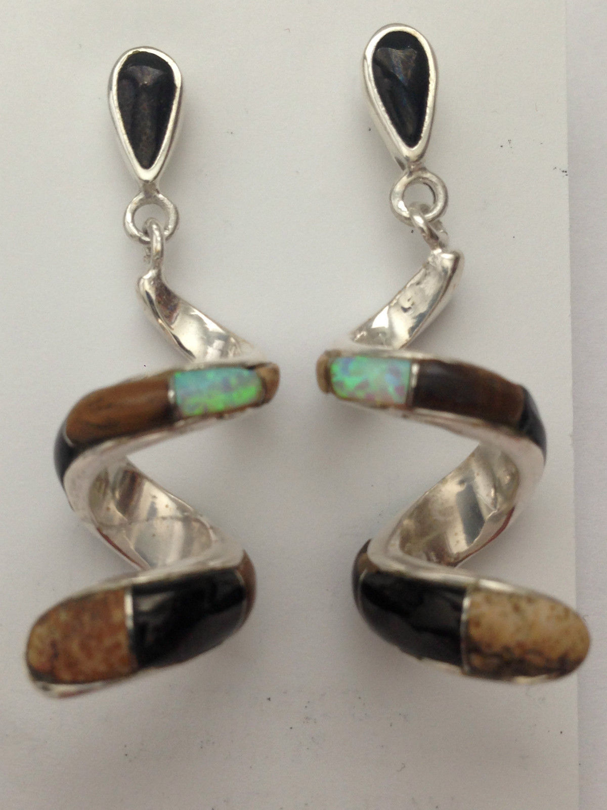 Sterling Silver Handmade Inlay Stone Teardrop Curly Post Dangle Earrings