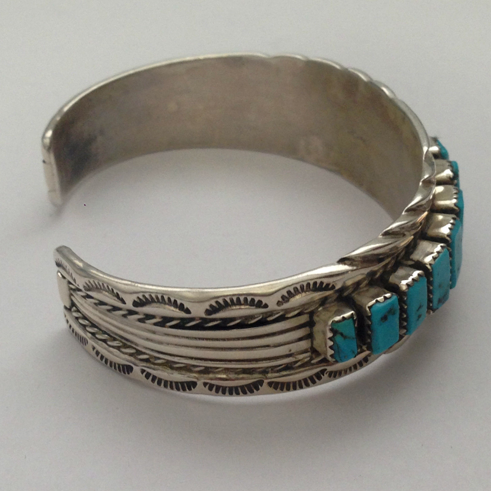 Sterling Silver Navajo Handmade 15 Genuine Turquoise Stone Cuff Bracelet By T.T